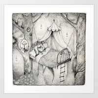 bed in the woods Art Print