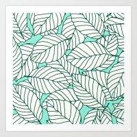 Sweet Leafs: Mint Art Print