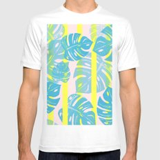 Linocut Monstera Neon Mens Fitted Tee White SMALL