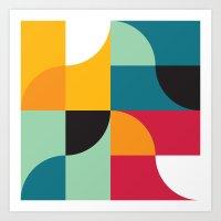 Squares & Curves Art Print