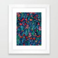 Tropical Ink - a watercolor garden Framed Art Print