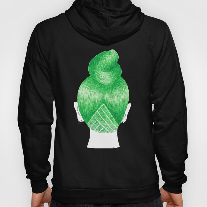 green hair fashion illustration shaved undercut black hoodie hoody
