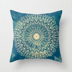 BLUE ORGANIC MANDALA Throw Pillow