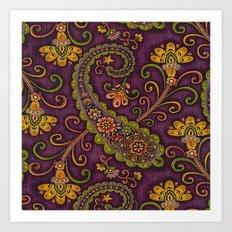 Floral Paisley Pattern 06 Art Print