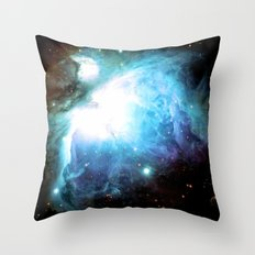 Orion Nebula Colorful Teal Throw Pillow