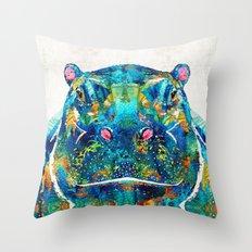 Hippopotamus Art - Happy… Throw Pillow