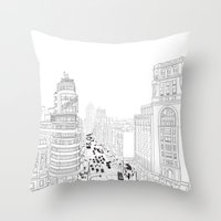 Gran Vía, Madrid Throw Pillow