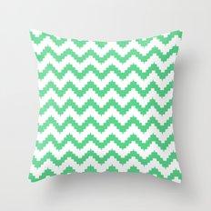 funky chevron mint pattern Throw Pillow