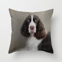 Waiting Patiently - English Springer Spaniel Throw Pillow