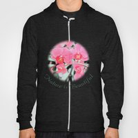 Lovely pink orchid flower color pencil sketch. floral photo art. Hoody