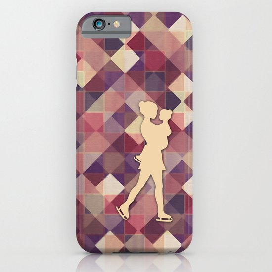Motherhood - Ice-skating mama and child cut out iPhone & iPod Case