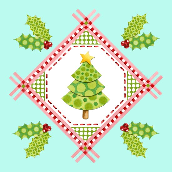 Aqua Holiday Polka Dot Tree Art Print