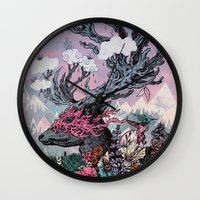 Journeying Spirit (deer) sunset Wall Clock