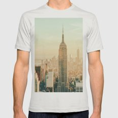 New York City Skyline Dreams Mens Fitted Tee Silver SMALL