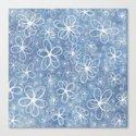 Doodle Flowers Blue Canvas Print