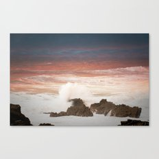 sunset on the waves(Hartland uk) Canvas Print