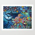 Indigo  magical cat Art Print