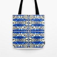 Blue Ink Shibori Tile Tote Bag