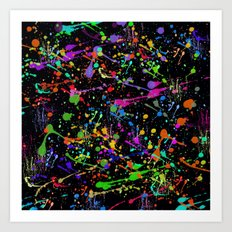 Paint Splatter 2 - Black Art Print