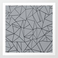 Ab Dotted Lines B on Grey Art Print