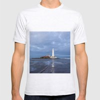 Dusk at St Mary's Lighthouse II Mens Fitted Tee Ash Grey SMALL