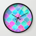 Bright Moroccan Morning - pretty pastel color pattern Wall Clock