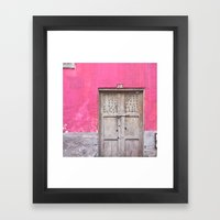 Grey Door on Pink Wall (Retro and Vintage Urban, architecture photography) Framed Art Print
