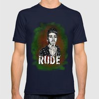 Rude Mens Fitted Tee Navy SMALL