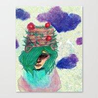 Basket Hat Woven Canvas Print