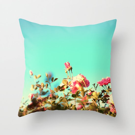 Pink Rose in a Blue Sky ( Colourful and retro nature nature) Throw Pillow