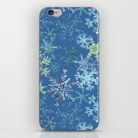 icy snowflakes on blue iPhone & iPod Skin