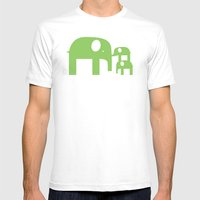 Green Elephants Mens Fitted Tee White SMALL