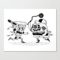 The ultimate fast food fight! Canvas Print