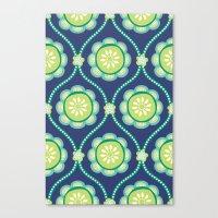 Citrus Flowers Blue Canvas Print