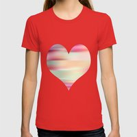 stripes Womens Fitted Tee Red SMALL