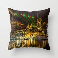 Christmas Light of Boston Throw Pillow