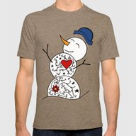 Snowman  Mens Fitted Tee Tri-Coffee SMALL