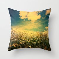 Counting Flowers Like Stars - Color Version Throw Pillow