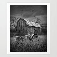 The Death of a Small Midwest in black & white Art Print