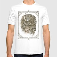 Portrait of a Buffalo Mens Fitted Tee White SMALL