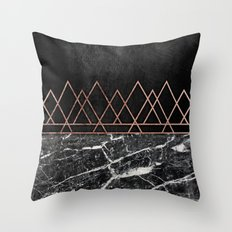 Elegant Rose Gold Triangles & Black & White Marble Throw Pillow