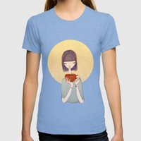 Coffee Womens Fitted Tee Tri-Blue SMALL