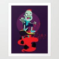 Skater zombie Art Print