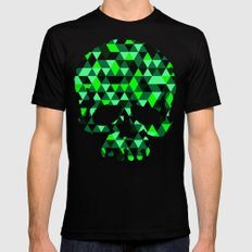 Triangle Camouflage Skull (WITHE) Black Mens Fitted Tee SMALL