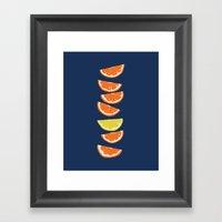 Citrus Tip - indigo & tangerine Framed Art Print