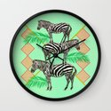 zebras in the jungle Wall Clock
