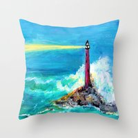 Lighthouse Abstract Painting Throw Pillow