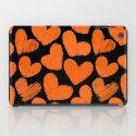 Sketchy hearts in orange and black iPad Case