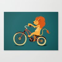 Lion on the bike Canvas Print
