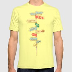 Happiness is everywhere Mens Fitted Tee Lemon SMALL